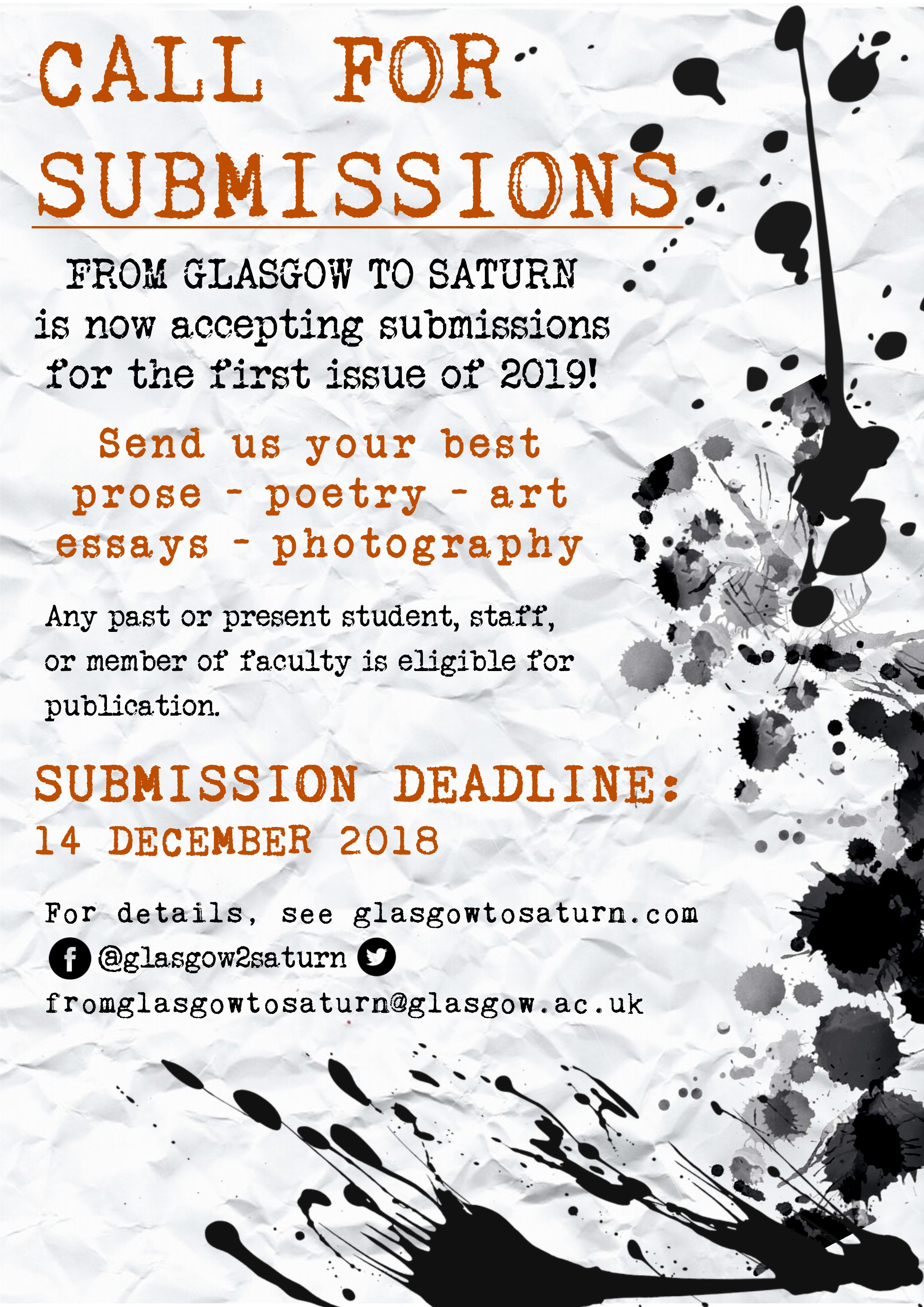 Call for submissions! | From Glasgow to Saturn